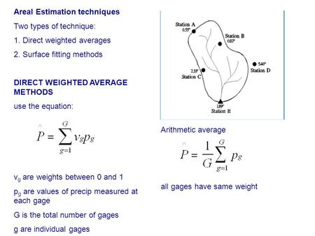 Areal Estimation techniques Two types of technique: 1. Direct weighted averages 2. Surface fitting methods DIRECT WEIGHTED AVERAGE METHODS use the equation: