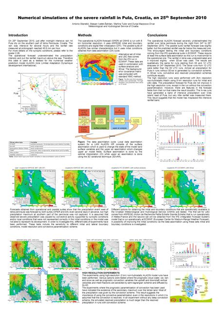 Numerical simulations of the severe rainfall in Pula, Croatia, on 25 th September 2010 Antonio Stanešić, Stjepan Ivatek-Šahdan, Martina Tudor and Dunja.
