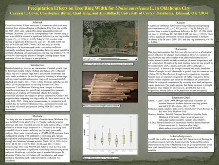 Precipitation Effects on Tree Ring Width for Ulmus americana L