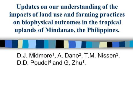 Updates on our understanding of the impacts of land use and farming practices on biophysical outcomes in the tropical uplands of Mindanao, the Philippines.