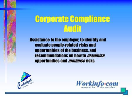 Corporate Compliance Audit Assistance to the employer, to identify and evaluate people-related risks and opportunities of the business, and recommendations.