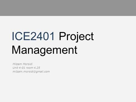 ICE2401 Project Management