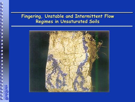 Fingering, Unstable and Intermittent Flow Regimes in Unsaturated Soils.