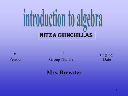 1 Mrs. Brewster Nitza chinchillas Period Group Number Date 6 1 3-18-02.