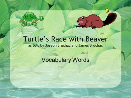 Turtle's Race with Beaver as told by Joseph Bruchac and James Bruchac Vocabulary Words.