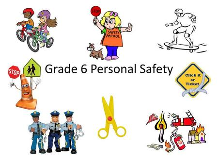 Grade 6 Personal Safety. Lesson 1 – injury Prevention Guidelines Areas of Safety Safety Rules for Water Safety Safety Rules for Fire Safety Safety Rules.