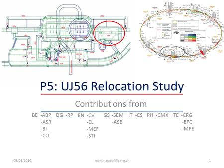 P5: UJ56 Relocation Study Contributions from BE -ABP -ASR -BI -CO DG -RP EN -CV -EL -MEF -STI GS -SEM -ASE IT -CSPH -CMXTE -CRG -EPC -MPE