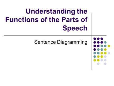 Understanding the Functions of the Parts of Speech Sentence Diagramming.