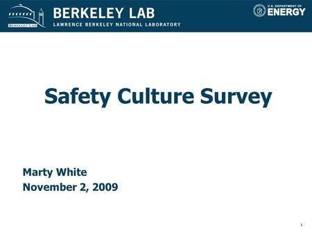 1 Safety Culture Survey Marty White November 2, 2009.