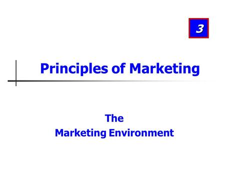 The Marketing Environment 3 Principles of Marketing.