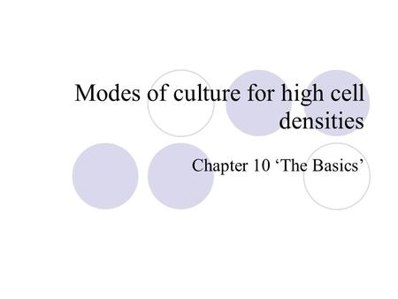 Modes of culture for high cell densities Chapter 10 'The Basics'