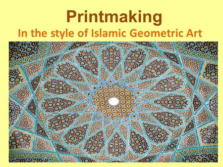 Printmaking In the style of Islamic Geometric Art.