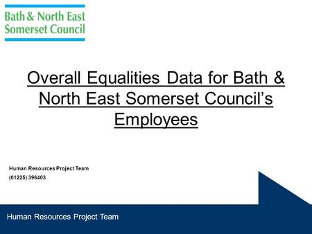 Human Resources Project Team Overall Equalities Data for Bath & North East Somerset Council's Employees Human Resources Project Team (01225) 396403.