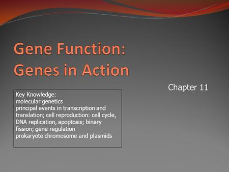 Chapter 11 Key Knowledge: molecular genetics principal events in transcription and translation; cell reproduction: cell cycle, DNA replication, apoptosis;