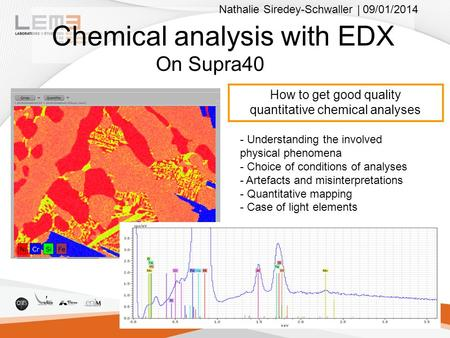 Chemical analysis with EDX On Supra40 How to get good quality quantitative chemical analyses - Understanding the involved physical phenomena - Choice of.