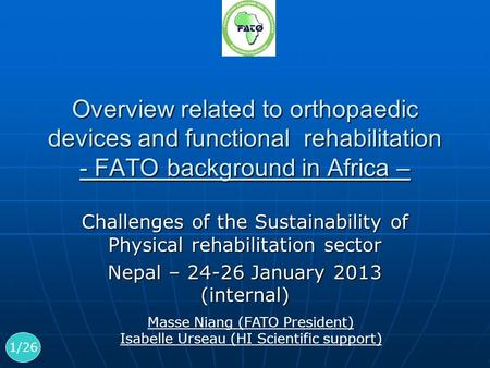 Overview related to orthopaedic devices and functional rehabilitation - FATO background in Africa – Challenges of the Sustainability of Physical rehabilitation.