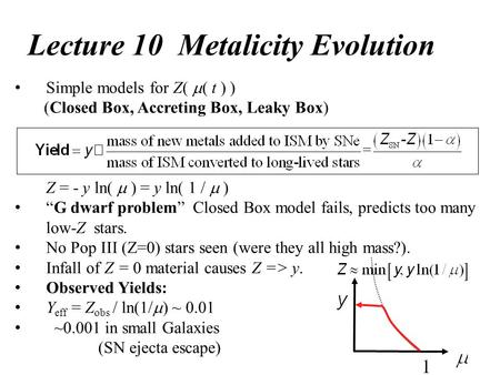 "Lecture 10 Metalicity Evolution Simple models for Z(  ( t ) ) (Closed Box, Accreting Box, Leaky Box) Z = - y ln(  ) = y ln( 1 /  ) ""G dwarf problem"""