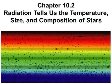 Chapter 10.2 Radiation Tells Us the Temperature, Size, and Composition of Stars.