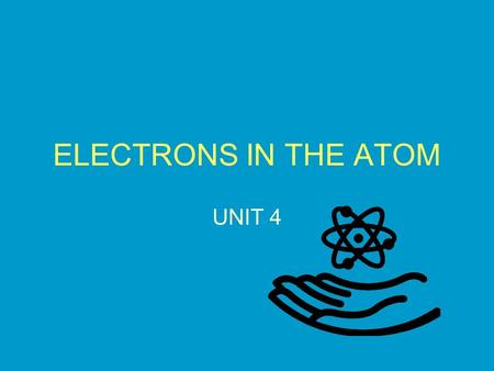 ELECTRONS IN THE ATOM UNIT 4. OBJECTIVES 1.Explain how atomic emission spectra can be used to identify elements 2.Describe Bohr's model of the atom. 3.Describe.