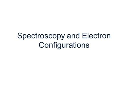 Spectroscopy and Electron Configurations. Light is an electromagnetic wave*.