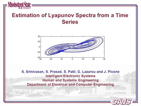 Estimation of Lyapunov Spectra from a Time Series S. Srinivasan, S. Prasad, S. Patil, G. Lazarou and J. Picone Intelligent Electronic Systems Human and.
