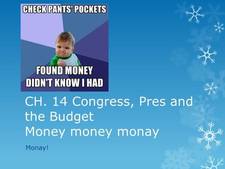 CH. 14 Congress, Pres and the Budget Money money monay Monay!
