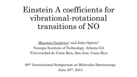 Einstein A coefficients for vibrational-rotational transitions of NO