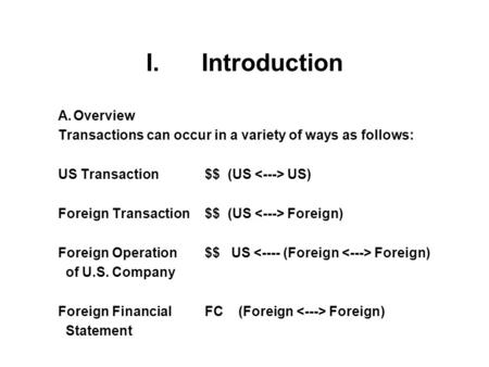 I. Introduction A.Overview Transactions can occur in a variety of ways as follows: US Transaction$$ (US US) Foreign Transaction$$ (US Foreign) Foreign.