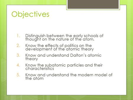Objectives 1. Distinguish between the early schools of thought on the nature of the atom. 2. Know the effects of politics on the development of the atomic.