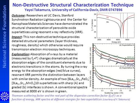 National Science Foundation Non-Destructive Structural Characterization Technique Yayoi Takamura, University of California-Davis, DMR 0747896 Thomson scattering.