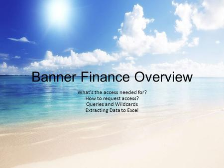 Banner Finance Overview What's the access needed for? How to request access? Queries and Wildcards Extracting Data to Excel.