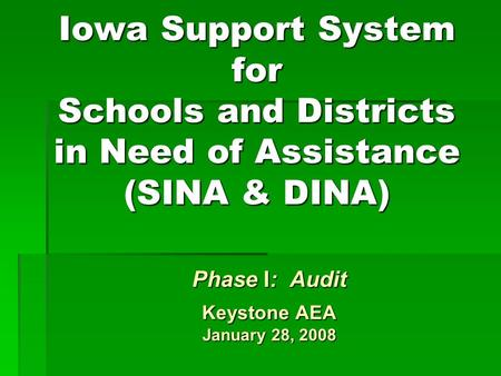 Iowa Support System for Schools and Districts in Need of Assistance (SINA & DINA) Phase I: Audit Keystone AEA January 28, 2008.