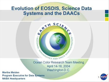 1 Evolution of EOSDIS, Science Data Systems and the DAACs Martha Maiden Program Executive for Data Systems NASA Headquarters Ocean Color Research Team.