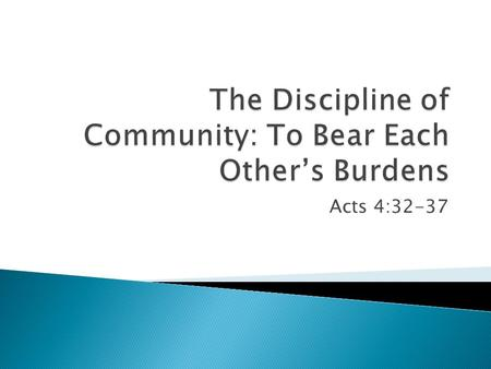 "Acts 4:32-37.  Deep, intimate oneness (""one heart & soul"")  People more important than things  People taken care of  The discouraged were encouraged."