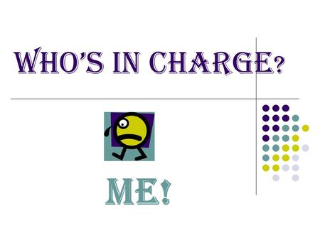 WHO'S IN CHARGE ? ME! Everything you did not Grant Reports Conducting Meetings Desk Scheduling Results Based Budgeting Customer Service Supervise Volunteers.