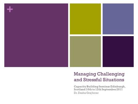 + Managing Challenging and Stressful Situations Capacity Building Seminar Edinburgh, Scotland 10th to 12th September 2011 Dr. Dasha Grajfoner.
