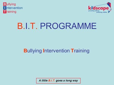 A little B.I.T. goes a long way B.I.T. PROGRAMME Bullying Intervention Training.