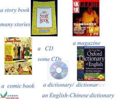 a story book many stories a magazine a comic book a CD some CDs a dictionary/ dictionaries an English-Chinese dictionary.