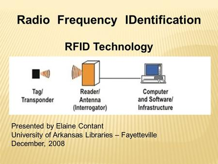 Radio Frequency IDentification RFID Technology Presented by Elaine Contant University of Arkansas Libraries – Fayetteville December, 2008.