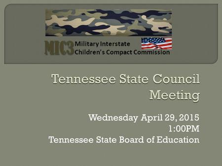 Wednesday April 29, 2015 1:00PM Tennessee State Board of Education.