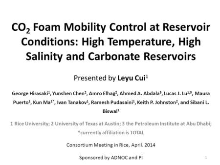 CO 2 Foam Mobility Control at Reservoir Conditions: High Temperature, High Salinity and Carbonate Reservoirs Presented by Leyu Cui 1 George Hirasaki 1,