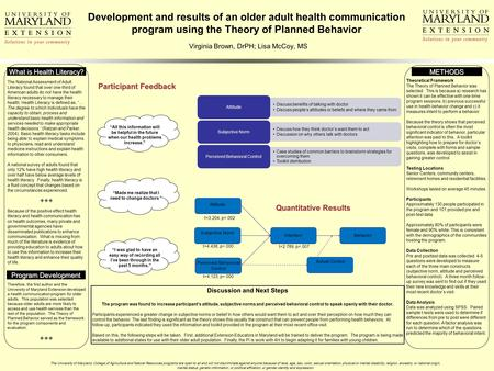 Development and results of an older adult health communication program using the Theory of Planned Behavior Virginia Brown, DrPH; Lisa McCoy, MS The National.
