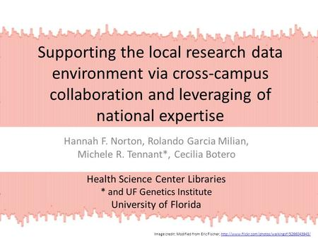 Supporting the local research data environment via cross-campus collaboration and leveraging of national expertise Hannah F. Norton, Rolando Garcia Milian,