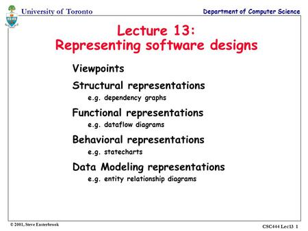 University of Toronto Department of Computer Science © 2001, Steve Easterbrook CSC444 Lec13 1 Lecture 13: Representing software designs Viewpoints Structural.