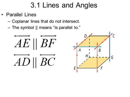 parallel planes symbol. 3.1 lines and angles parallel \u2013coplanar that do not intersect. \u2013the planes symbol i