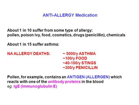 ANTI-ALLERGY Medication