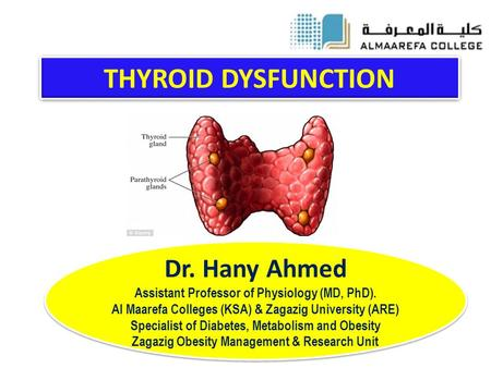 THYROID DYSFUNCTION Dr. Hany Ahmed