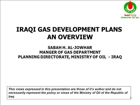 IRAQI GAS DEVELOPMENT PLANS AN OVERVIEW