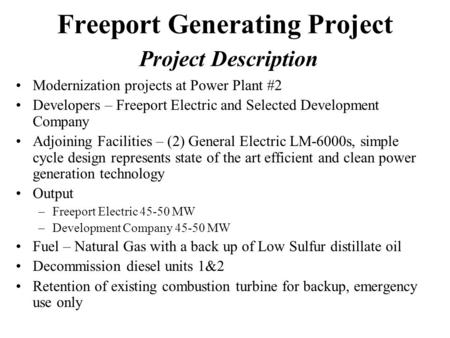 Freeport Generating Project Project Description Modernization projects at Power Plant #2 Developers – Freeport Electric and Selected Development Company.