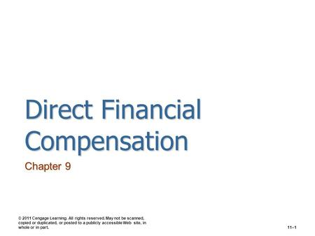 Direct Financial Compensation